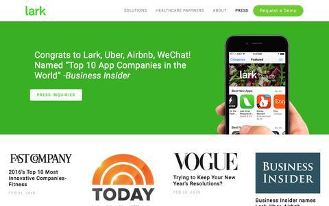 Screenshot of Press Page lark.com - Lark - Press - captured April 11, 2017