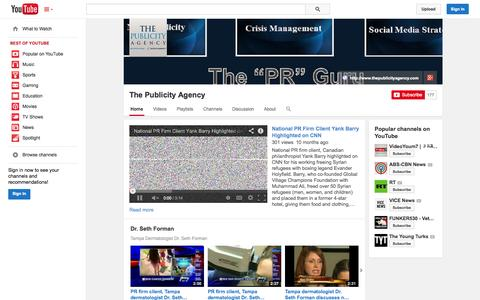 Screenshot of YouTube Page youtube.com - The Publicity Agency  - YouTube - captured Oct. 29, 2014