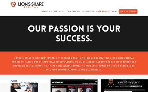 Screenshot of Case Studies Page lionssharedigital.com - Case Studies - Lion's Share Digital - captured Sept. 30, 2014