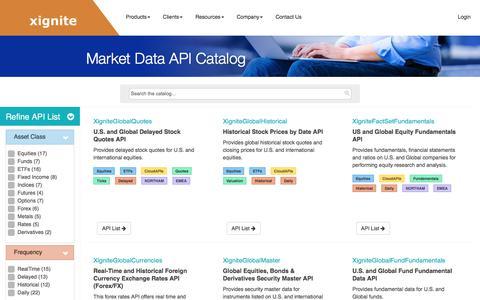 Screenshot of Products Page xignite.com - Market Data API Catalog - captured July 13, 2018
