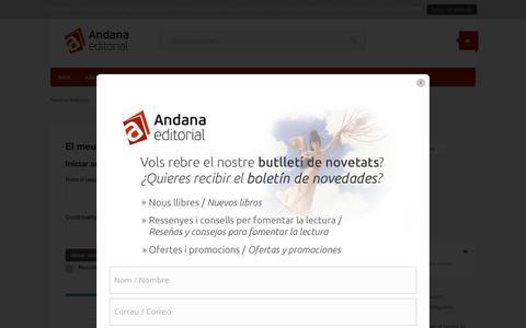 Screenshot of Login Page andana.net - El meu compte - Andana Editorial - captured Nov. 20, 2016