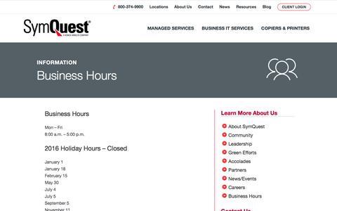 Screenshot of Hours Page symquest.com - Business Hours - SymQuest - captured Oct. 24, 2017
