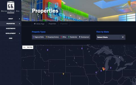 Screenshot of Maps & Directions Page gkdevelopment.com - Properties | GK Development, Inc. - captured Jan. 23, 2016