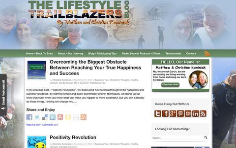 Screenshot of Home Page lifestyletrailblazers.com - The Lifestyle Trailblazers - Blazing A Life By Design - captured July 22, 2015
