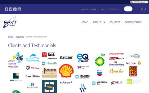 Screenshot of Testimonials Page epitgroup.com - Clients and Testimonials - captured July 14, 2018