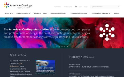 Screenshot of Home Page paint.org - American Coatings Association - captured Oct. 3, 2018