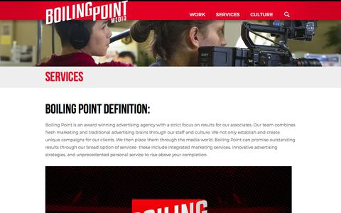 Screenshot of Services Page boilingpointmedia.com - Services - Boiling Point Media - captured Jan. 6, 2016
