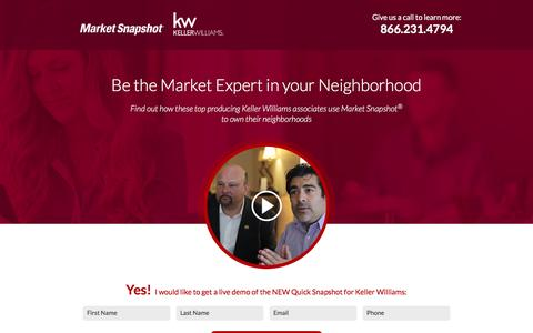 Screenshot of Landing Page topproducer.com - Market Snapshot® | Keller Williams | Be the Market Expert in your Neighborhood - captured Dec. 30, 2016