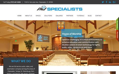 Screenshot of Home Page avspecialists.com - Smart Home Automation: Clearwater, FL (727) 441-9292 - captured Oct. 7, 2017
