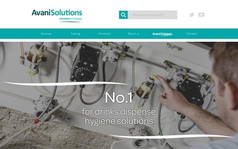 Screenshot of Menu Page avanisolutions.co.uk - Purple beer line cleaner, colour change technology, verified hygiene | Avani Solutions - captured July 24, 2016