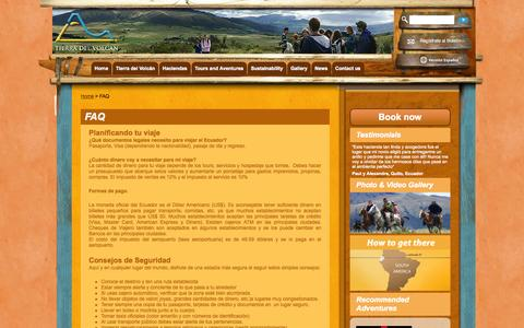 Screenshot of FAQ Page tierradelvolcan.com - FAQ «  Tierra del Volcan - captured Oct. 6, 2014
