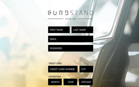 Screenshot of Signup Page curbstand.com - Curbstand - captured Sept. 13, 2014