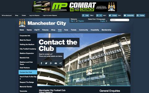 Screenshot of Contact Page mcfc.co.uk - Business directory - The Club - Manchester City FC - captured Oct. 20, 2015