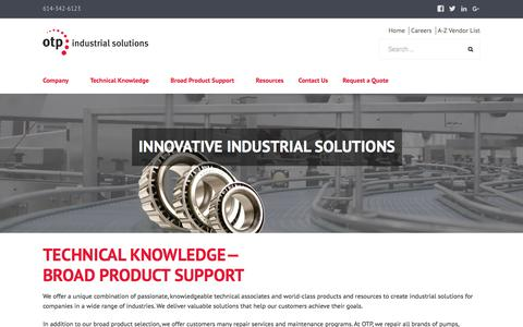 Screenshot of Home Page otpnet.com - OTP Industrial Solutions   Industrial Distributor and Service Provider - captured Oct. 21, 2017