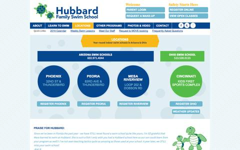 Screenshot of Locations Page hubbardswim.com - Locations - captured Oct. 3, 2014