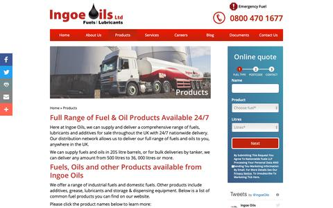 Screenshot of Products Page ingoeoils.co.uk - Fuel Products - Nationwide Fuel Suppliers UK | Ingoe Oils - captured Nov. 14, 2018