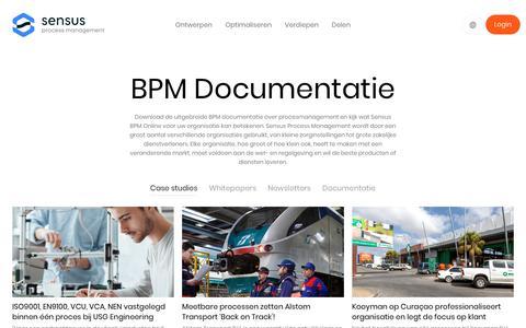 Screenshot of Case Studies Page sensus-processmanagement.com - Download BPM documentatie zoals Whtepapers en Case Studies - captured Oct. 23, 2018