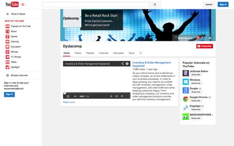 Screenshot of YouTube Page youtube.com - Dydacomp  - YouTube - captured Oct. 23, 2014