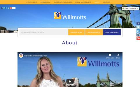 Screenshot of About Page willmotts.com - About |Willmotts Chartered Surveyors, Estate agents in Hammersmith Broadway West London W6 property management sales lettings commercial and residential Estate Agents in Hammersmith, Willmotts Property West London - captured Nov. 19, 2018