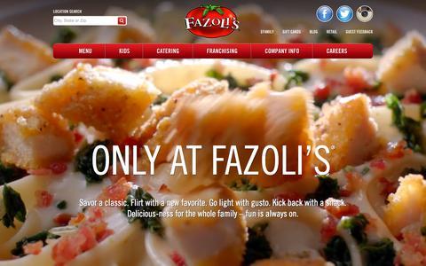 Screenshot of Home Page fazolis.com - Fazoli's - captured Oct. 1, 2015