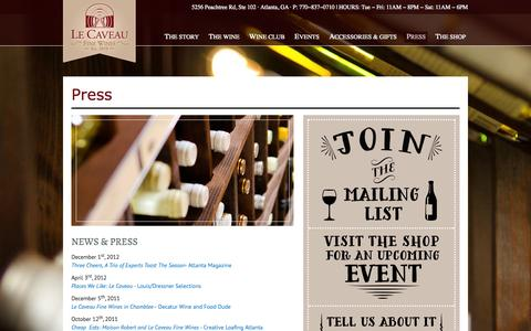 Screenshot of Press Page lecaveauwine.com - Press - Le Caveau Fine Wines - captured Oct. 2, 2014