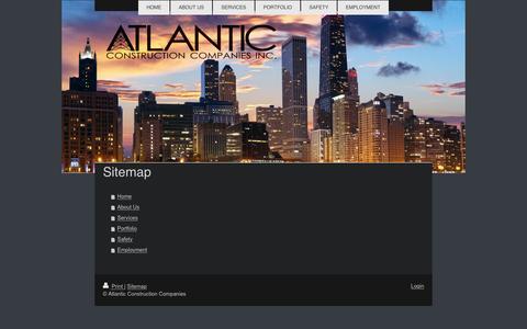 Screenshot of Site Map Page atlanticconstructioncompanies.com - Atlantic Construction - Development Services For Network Construction - captured Dec. 27, 2015