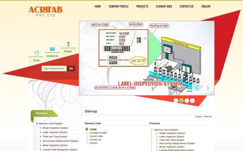 Screenshot of Site Map Page machinevisionplus.com - Site Map - Acrifab Private Limited - captured July 21, 2016