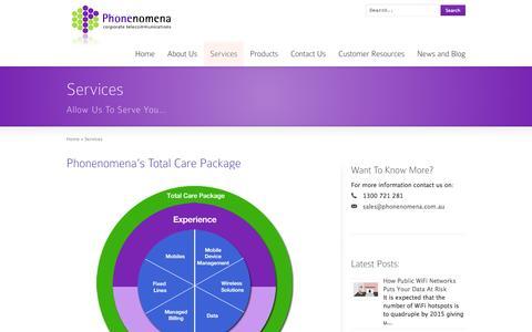 Screenshot of Services Page phonenomena.com.au - Phonenomena Corporate Telecommunications: Services | Phonenomena | Telstra Enterprise Partner | Enterprise Mobility Management - captured Sept. 29, 2014