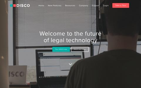 Screenshot of Home Page csdisco.com - DISCO for ediscovery | The Legal Technology Company - captured Feb. 20, 2016