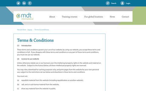 Screenshot of Terms Page mdtinternational.com - Terms & Conditions - captured Nov. 5, 2018