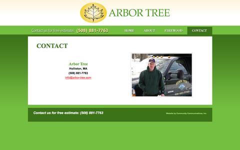 Screenshot of Contact Page arbor-tree.com - Arbor Tree Ashland - captured Nov. 21, 2016