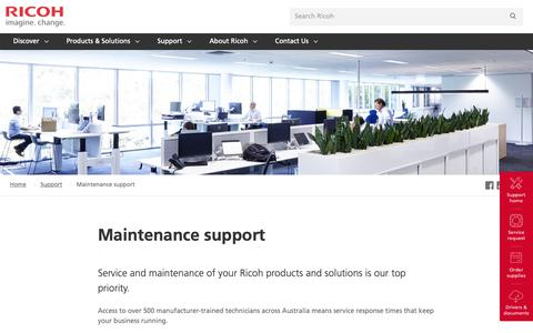 Screenshot of Support Page ricoh.com.au - Maintenance Support | Ricoh Australia - captured Jan. 3, 2019