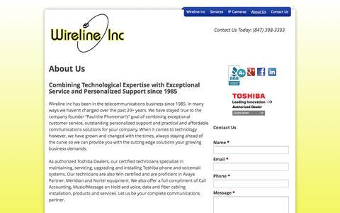 Screenshot of About Page wirelineinc.com - About Us - wirelineinc - captured Oct. 26, 2014