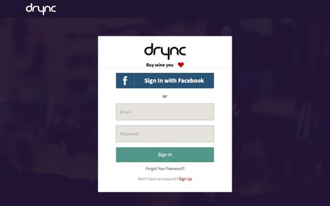 Screenshot of Login Page drync.com captured Dec. 2, 2015