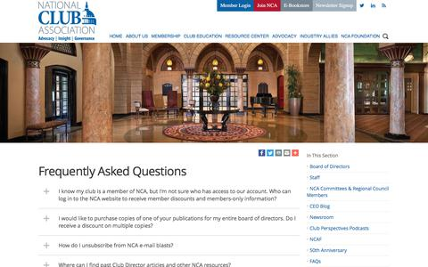 Screenshot of FAQ Page nationalclub.org - National Club Association - Frequently Asked Questions - captured Oct. 19, 2017
