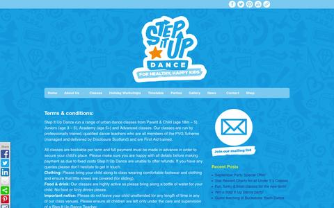Screenshot of Terms Page stepitupdance.co.uk - Terms & Conditions - Step It Up Dance - captured Oct. 7, 2014