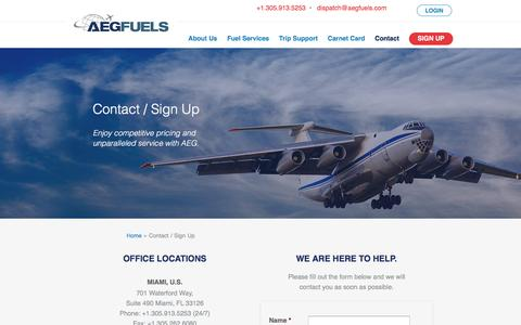 Screenshot of Signup Page aegfuels.com - Contact / Sign Up | AEG Fuels - captured July 27, 2016