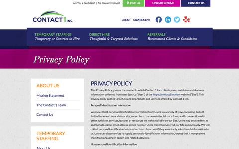 Screenshot of Privacy Page contact1inc.com - Privacy Policy - Contact 1 - captured July 21, 2018