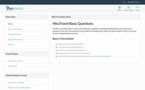 Screenshot of FAQ Page misstravel.com - MissTravel Help Center - captured June 21, 2017