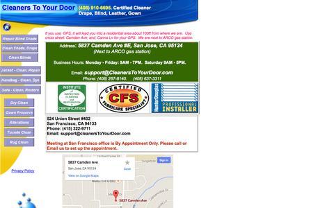 Screenshot of Contact Page cleanerstoyourdoor.com - Contact Us| Cleaners To Your Door - captured Sept. 29, 2014