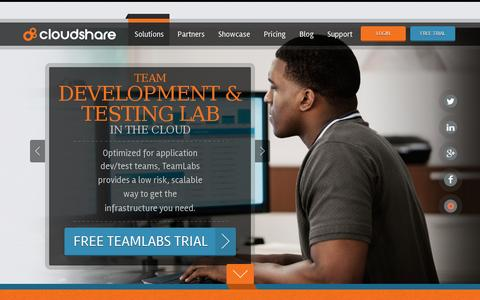 Screenshot of Home Page cloudshare.com - Self-Service platform Cloud | Application Development and Testing, Software Demos, Virtual Training, SharePoint | CloudShare - captured July 11, 2014