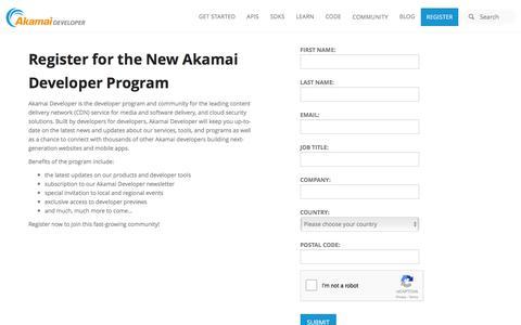 Akamai Developer | Register
