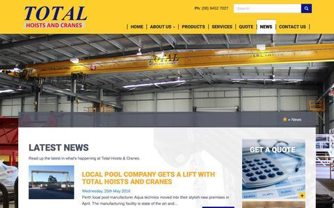 Screenshot of Press Page totalhoistsandcranes.com.au - News •                 Total Hoists and Cranes - captured Dec. 19, 2016