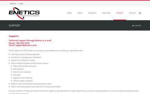 Screenshot of Support Page enetics.com - Enetics, Inc. > Support - captured Nov. 10, 2018
