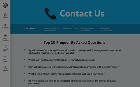 Screenshot of Contact Page vw.com - Contact Us - captured Feb. 20, 2020