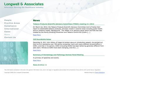 Screenshot of Press Page fdclaw.com - News | Longwell & Associates - captured Oct. 3, 2014