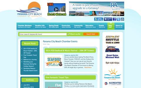 Screenshot of Blog pcbeach.org - pcbeach.org   Panama City Beach Chamber of Commerce / The Official Panama City Beach Chamber - captured Nov. 1, 2014