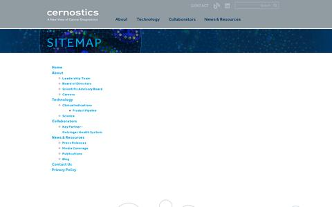 Screenshot of Site Map Page cernostics.com - Sitemap | Cernostics - captured July 18, 2014