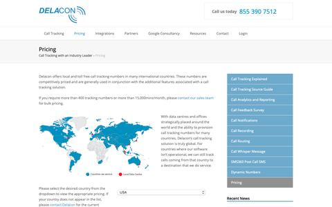 Screenshot of Pricing Page delaconcorp.com - International Call Rates | Delacon Advanced Call Tracking Solutions - captured Nov. 22, 2018