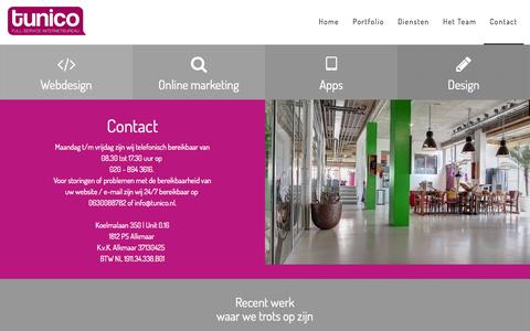 Screenshot of Contact Page tunico.nl - Full-service internetbureau | Contact - captured Aug. 16, 2015